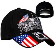 Iron Eagle POW Never Forgotten Embroidered Ball Cap- Black 68f2fd361b6d