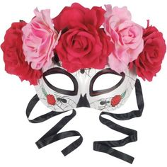 Star Power Day of the Dead Sugar Skull Half Mask w Roses, White Multi, One-Size