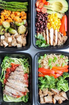 Easy Chicken Meal Prep Bowls- 5 Ways Chicken Meal Prep, Healthy Chicken Recipes, Healthy Dinner Recipes, Lunch Recipes, Meal Prep Bowls, Kampot, Black Rice, Soft Boiled Eggs, Curry Soup