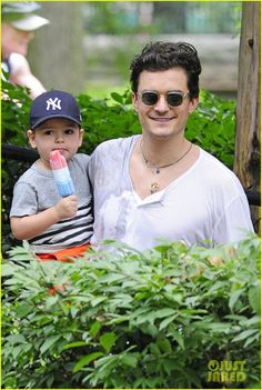 Orlando Bloom takes his son Flynn to Central Park on July 14, 2013