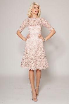 Lace boat neck dress #TeriJon #spring14