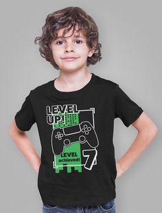 Birthday Party Outfits, Birthday Shirts, 7th Birthday, New Kids, Kids Boys, Perfect Gif, Back To School Outfits, Ugly Christmas Sweater, Video Game