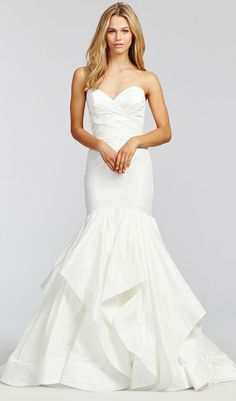 Try this ivory taffeta fit to flare wedding dress draped elongated bodice. Sweetheart neckline wedding dress from Blush. Available at Schaffer's in Scottsdale, Arizona. Wedding Dress Info: Blush – STYLE 1658 ORION.
