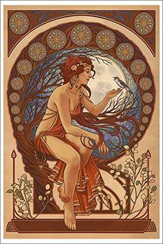 Woman and Bird - Art Nouveau (12x18 Art Print Wall Decor)