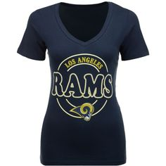 5th & Ocean Women's Los Angeles Rams Circle Glitter T-Shirt ($14) ❤ liked on Polyvore featuring tops, t-shirts, navy, navy blue shirt, short sleeve t shirt, navy t shirt, nfl t shirts and blue t shirt