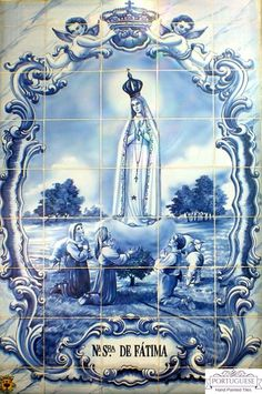 Portuguese Hand Painted Our Lady of Fatima Tile Mural Azulejos A beautiful tile mural with the OUR LADY OF FATIMA motive finely painted. Quantity: 45 tiles Size: X X (each tile size or Origin: Portugal Production method: Handmade, hand painted, XVI, XVII Hand Of Fatima, Hand Painted, Ceramics, Ceramic Painting, Hand Painted Tiles, Painting, Lady Of Fatima, Painting Tile, Arts And Crafts House