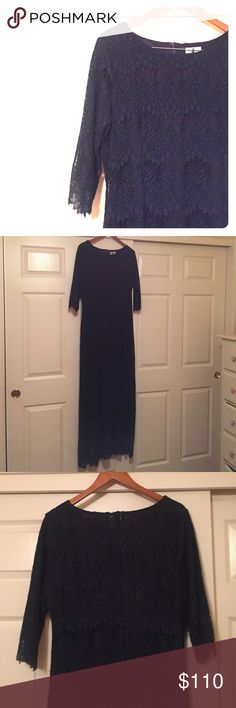 Navy Dainty Jewells A Night In Paris Dress Lace Navy Dainty Jewells A Night In Paris Dress with a full zipper. Comes with a sash. Only worn once. I'll take reasonable offers! 😊 Dainty Jewells Dresses Maxi