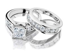 To my future prince charming!!! Princess Cut Diamond Engagement Ring and Wedding Band Set 2 Carat (ctw) in 14K White Gold
