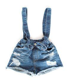 Petite Overall Distressed Denim Shorts on tokkikids.com