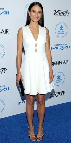Jordana Brewster stepped out for a good cause, hitting the Autism Speaks to Los Angeles Celebrity Chef Gala in a LWD with racy cut-out detailing. She accessorized with a black clutch and playful nude-and-black sandals.