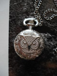 SALE 10 % OFF, Necklace Pendant Silver Owl Pocket Watch quartz Gift Chain  C642. $5.93, via Etsy.