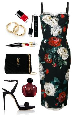 Cocktail Party by anya-nadtochiy on Polyvore featuring мода, Dolce&Gabbana, Giuseppe Zanotti, Yves Saint Laurent, David Yurman, Christian Louboutin, Christian Dior and Chanel