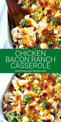 chicken casserole dinners Chicken Bacon Ranch Casserole combines chicken, bacon, veggies, and Ranch dressing along with a few other simple ingredients creating the perfect din Low Carb Chicken Casserole, Chicken Bacon Ranch Casserole, Veggie Casserole, Low Calorie Casserole, Chicken Broccoli Casserole Healthy, Dinner Casserole Recipes, Healthy Low Carb Recipes, Low Carb Dinner Recipes, Low Calorie Chicken Recipes