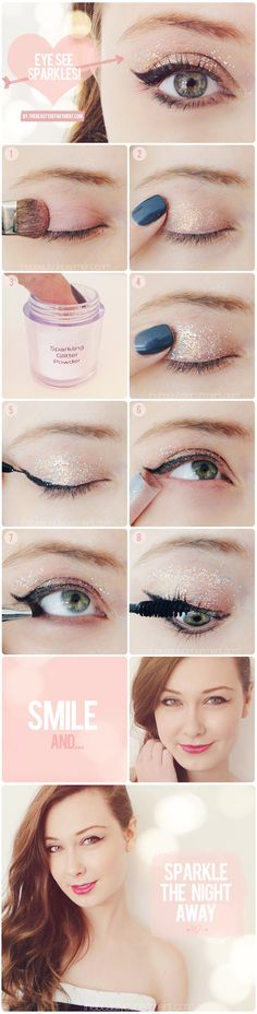 Rather than going with a dark smokey eye for the upcoming holidays or special events, the Beauty Department shows you how to pair a light eyeshadow with some glitter to give your eyes some sparkle. // This is so pretty Eye Makeup, Party Makeup, The Beauty Department, All Things Beauty, Beauty Make Up, Real Beauty, Huda Beauty, Beauty Tutorials, Beauty Hacks
