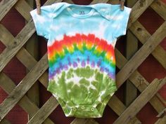Tie Dye Baby Onesie - Rainbow Bliss - Sizes newborn, 6, 12, 18, 24 month - Made To Order. $14.00, via Etsy.
