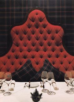 Tartan - Hmmm, tufted headboard as DIY settee/banquette back. Tartan Decor, Tartan Plaid, Diy Plaid, Company Picnic, Red Interiors, Home Projects, Home Accessories, Upholstery, House Design