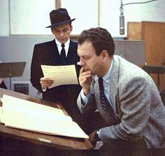 Frank Sinatra ans Nelson Riddle at Capitol Records Studios Shirley Mcclain, Frank Sinatra My Way, Nelson Riddle, Great American Songbook, Joey Bishop, Sammy Davis Jr, Ella Fitzgerald, Jazz Musicians, Dean Martin