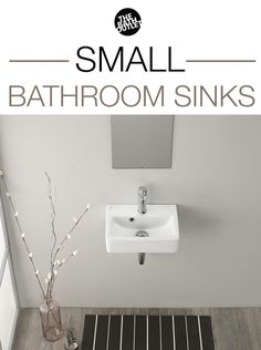 Small bathrooms are very popular nowadays and here are some space-saving bathroom sink options! Small Bathroom Sinks, Bathroom Sink Drain, Ideal Bathrooms, Small Sink, Bathroom Plans, Bathroom Layout, Bathroom Colors, Bathroom Shower Curtains, Bathroom Inspo