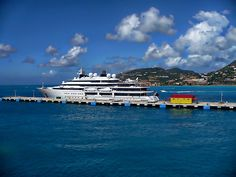 Cruise ship docked at St. Maarten pier in the Caribbean