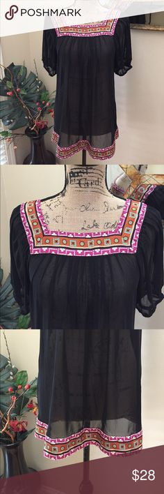 """🌸Nicole by Nicole Miller pretty summer blouse. 🌸Nicole by Nicole Miller pretty summer blouse. This is a fairly sheer tunic-I left it without cami to show need to cami or cute bra. This is poly and silk. The pink BOHO edging is silk. The entire garment is polyester. Just lovely and great for summer looks! Preloved in excellent condition. Pit to pit measurement is 18.5"""". Flowy. Length is 27"""". Nicole by Nicole Miller Tops Blouses"""