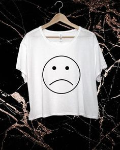 Sad Face Crop Tee Flowy T-Shirt Cute Top Girls Shirt Cropped Fit Relaxed Casual Style Tumblr Fashion Soft White Tee Simple Funny Trendy Fit