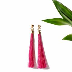 "The ""Pony Tail Earrings II"" in Fuchsia. Also available in Turquoise, Cream and Black. Online now at www.ParmeMarin.com #ParmeMarin #Ethnic #Jewelry"