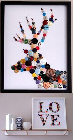C'est un cerf fait en bouton sur un tableau.Les couleurs sont le bleu,rose,noir.rouge,jaune,orange etc! La technique utilisé est probalement seulement des boutons collés. J'aime cette oeuvre a cause que je trouve ca très inspirant le cerf fait en boutons en plus ca fait très beau tout  les couleurs de boutons ensemble !