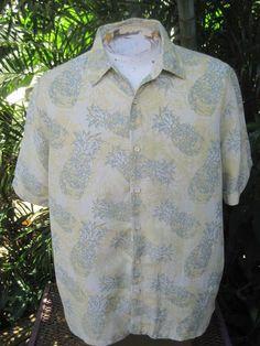 HAWAIIAN Aloha SHIRT XL pit to pit 25 MARGARITAVILLE silk blend pineapples  #Margaritaville #Hawaiian