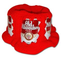 Old Milwaukee Handmade Crochet Red Beer Can Hat