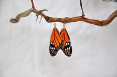 Monarch Butterfly Wings Earrings  Carved Walnut by PearlElizabeth, $100.00