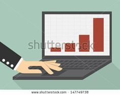 graphs and charts being demonstrated on the screen of a laptop computer - stock vector