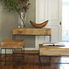 Rustic Storage Side Table | west elm    Something basic for between my chairs or the Saaeren table?