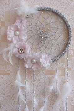 Baby Dream Catcher Wall Hanging, Floral Dream Catcher, Baby Shower Decorations Girl Nursery Wall Decor, White Pink Baby Girl Nursery Decor - Baby Baby Home Baby Girl Nursery Decor, Nursery Wall Decor, Baby Room, Gifts For Girls, Girl Gifts, Baby Gifts, Dreamcatcher Crochet, Dream Catcher Decor, Dream Catcher Kit
