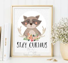 printable kid gift Stay curious Nursery wall art print raccoon Wall art Decor illustration nursery decoration quotes raccoon print 114