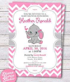 Mejores 361 imgenes de baby shower nia en pinterest en 2018 baby elephant baby shower invitation pink elephant girl baby shower invite pink and gray invite chevron printable filmwisefo