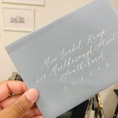 Wedding calligraphy envelopes in white ink modern calligraphy Calligraphy Wedding Place Cards, Calligraphy Save The Dates, Calligraphy Envelope, Foil Wedding Invitations, Modern Calligraphy, Wedding Paper, Wedding Cards, Vow Booklet, Blue Envelopes