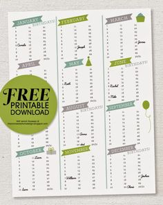 lemon squeezy: Free Printable: Birthday Calendar
