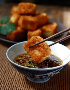 Food: Eleven Delish Tofu Recipes (via Season with Spice | Fried Tofu with Sesame-Soy Dipping Sauce)