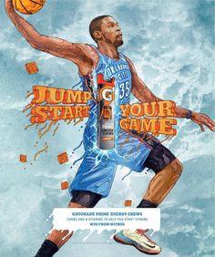 Durantula is killing it Durant Nba, Kevin Durant, Basketball Art, Print Magazine, Print Ads, Thunder, Advertising, Athletes, Candy