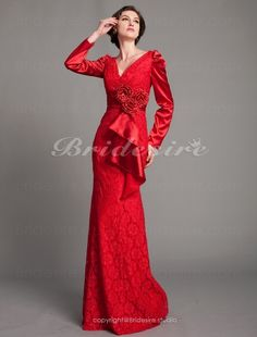Trumpet/ Mermaid Stretch Satin And Lace Floor-length V-neck Evening Dress - $179.99