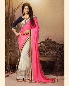 Pink and off white half and half sari with golden embellished border   1. Pink and off white bemberg chiffon embroidered half and half sari2. Comes with matching unstitched blouse