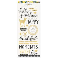 Crate Paper Maggie Holmes Bloom Stickers Clear Gold Foil Happy