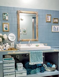 organization in the bathroom with Cinq Filles hard boxes Bad Inspiration, Bathroom Inspiration, Bathroom Ideas, Spa Inspired Bathroom, Kitchen And Bath, Powder Room, New Homes, Organization, Boxes