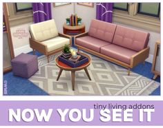 Tiny Living Addons - Now You See It Livingroom Tiny House Furniture, Sims 4 Cc Furniture, Sims Four, Sims 4 Mm Cc, Mods Sims, Sims 4 City Living, Sims 4 House Building, Muebles Sims 4 Cc, Sims 4 House Design