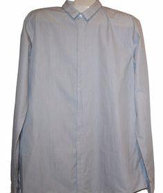Hugo Boss Men's Gray White Striped Button Front Dress Shirt Sz 2XL Slim Fit NEW #HugoBoss #ButtonFront