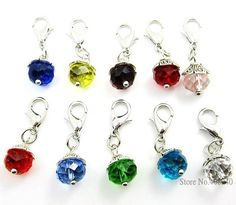 """Fashion Charms 50PCS """"Crystal""""dangles necklace pendants fit floating charm Origami owl locket with Lobster clasp Free Shipping-in Pendants from Jewelry on Aliexpress.com 