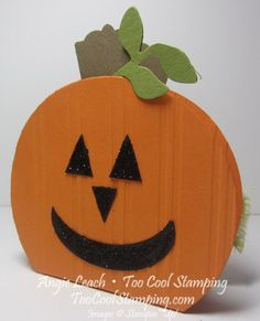 Too Cool Stamping: Halloween Pumpkin Treat Box Tutorial - Circles Collection Framelits - Secret Garden Framelits - Artisan Label Punch - Extra Large Oval Punch - Stylish Stripes EF