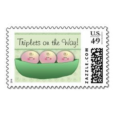 3 peas in a pod triplet baby shower postage stamps