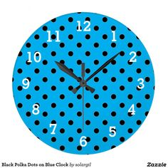 Black Polka Dots on Blue Clock