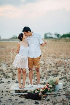 Fairy lights, florals, minimal rustic props for this couple's engagement shoot // Seventh Heaven: Weijie And Annabel's Engagement Shoot